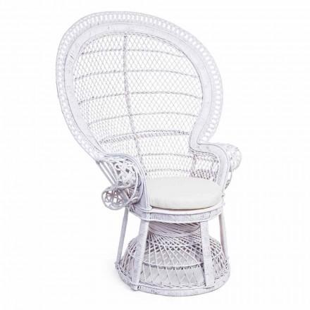 Luxus Design Garten Sessel in Weiß Rattan für Outdoor - Serafina