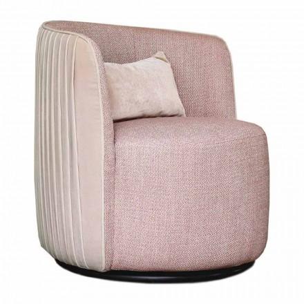 Drehbarer Wohnzimmer-Sessel aus Stoff und Schwarzmetall Made in Italy - Lavendel