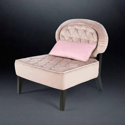 Gepolsterter Sessel aus Samt im Capitonnè Stil Elizabeth