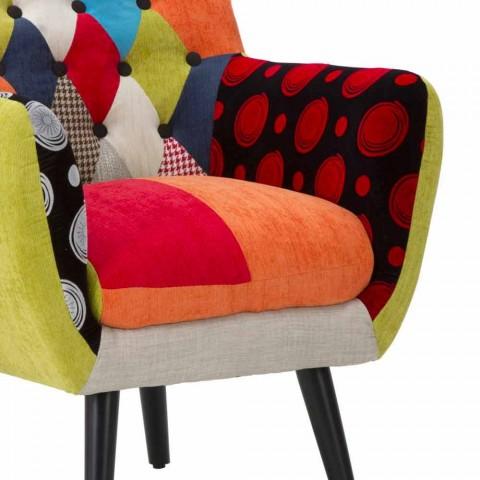 Bunter Patchwork-Sessel im modernen Design aus Stoff und Holz - Koria