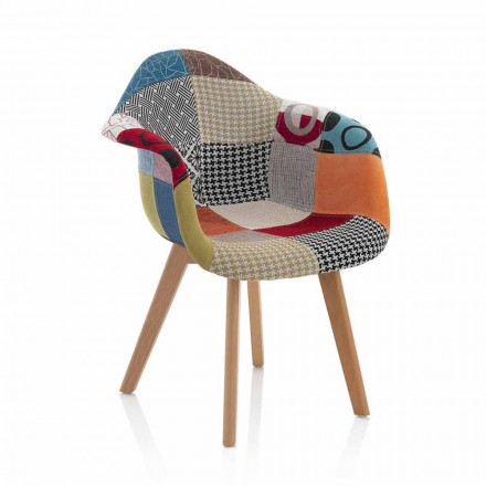 Patchwork Design Sessel aus Stoff mit Holzbeinen, 2 Stück - Selena