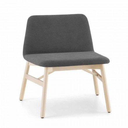 Wertvoller Sessel aus Stoff oder Samt mit Buchenfuß Made in Italy - Molde