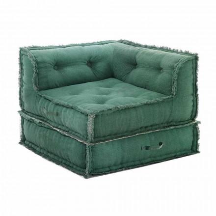 Corner Chaise Longue Sessel aus grauer, grüner oder blauer Baumwollfaser