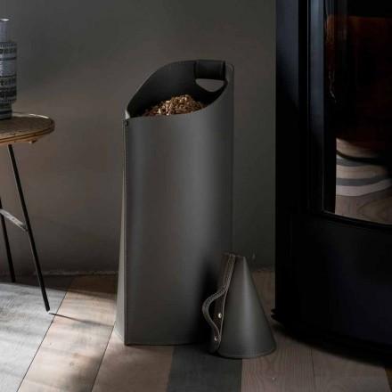 Pelletkorb mit Pelletschaufel aus Leder Sapir Design