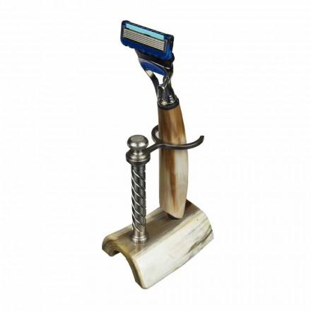 Handgefertigter Rasiermesserhalter aus Horn oder Holz mit Rasiermesser Made in Italy - Diplo