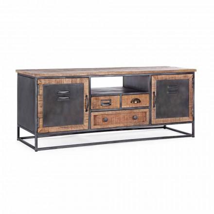 TV-Ständer im Industriestil aus Mango-Holz und Stahl Homemotion - Rupia