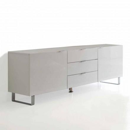 Moderner TV-Ständer mit 3 Schubladen und 2 Saffo-Türen, weiß lackiert