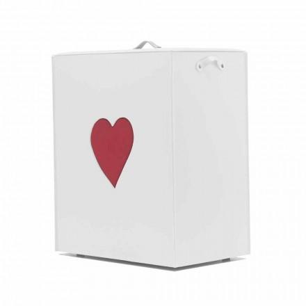 Moderner Lederwäschekorb Made in Italy Adele, Herzeinsatz
