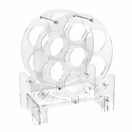 Design Tischflaschenhalter aus transparentem Plexiglas oder mit Holz - Vinello