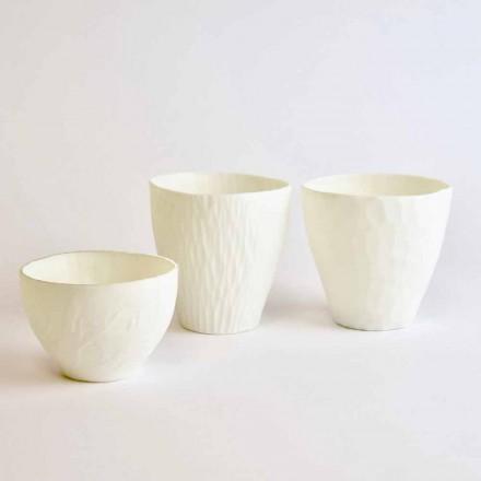 Design Kerzenhalter aus verziertem weißem Porzellan 3 Stück - Arcireale