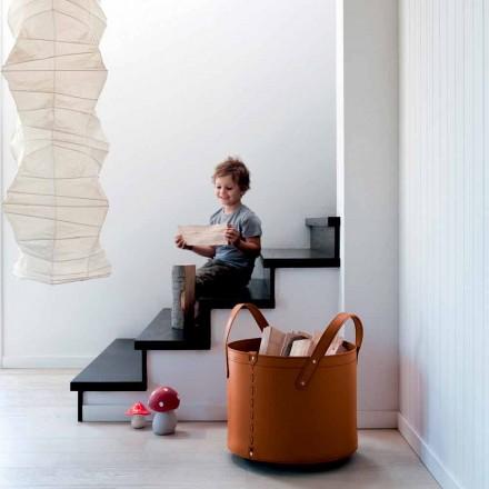 Zylindrischer Holzhalter aus regeneriertem Leder mit Tonda Firestyle Rädern