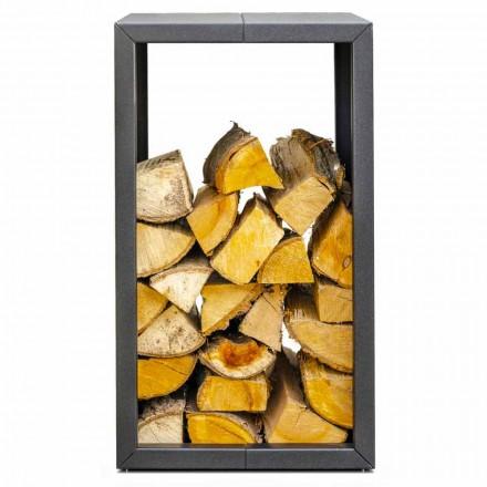 Holzhalter im Außen- oder Innendesign, schwarz oder Corten 45x45xH70 cm - Riviera