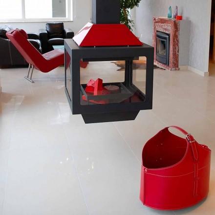 Moderne Kaminholztasche mit Rollen aus Leder Fabia