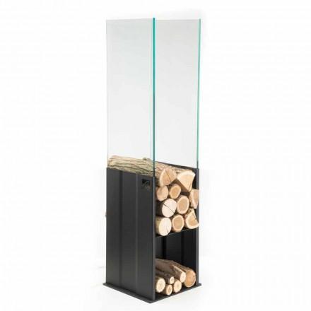 Kaminholzständer aus Temperglas und Stahl, Caf Design made in Italy