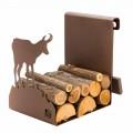 Brennholzhalter aus braunem Stahl Hergestellt in Italien mit Werkzeugen - Volturno