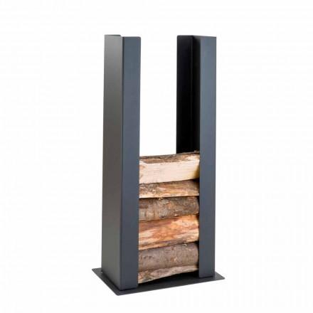 Boden / Wand Holzhalter aus schwarzem Stahl mit Säule des modernen Designs - Grecale