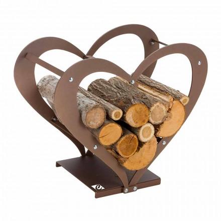 Holzhalter aus braunem Stahl Made in Italy - Zuneigung