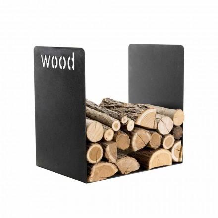 Moderner Holzhalter in minimalem Design aus schwarzem Stahl mit Gravur - Altano