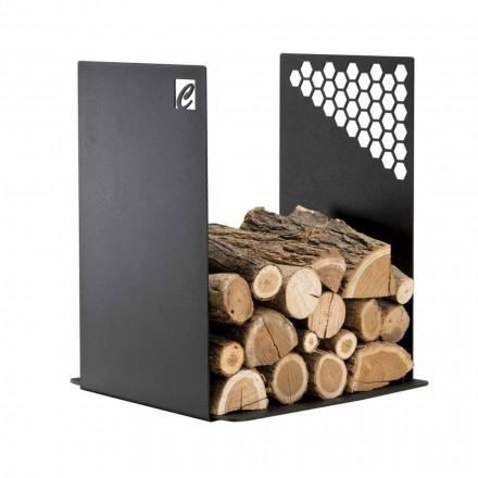 Moderner Brennholzhalter aus schwarzem Stahl für den Innenbereich - Scirocco