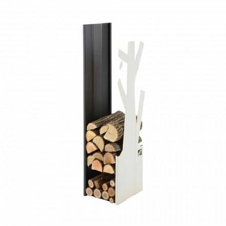 Interior Design Holzhalter aus weißem und schwarzem Stahl - Maestrale5