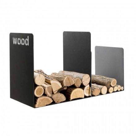 Modernes Kaminholzständer mit Wood Innenschrift und Trennwand