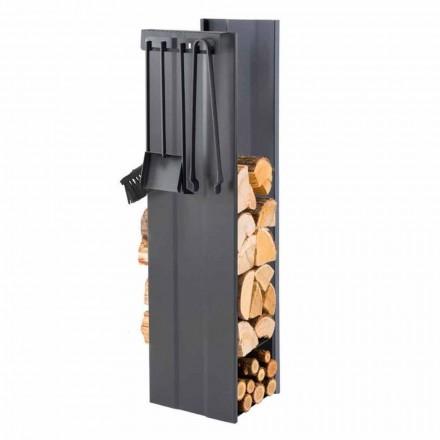 Design Brennholzhalter mit 4 Innenwerkzeugen Made in Italy - Janet