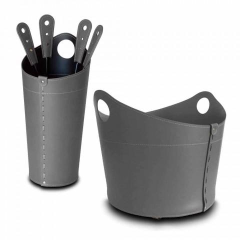 Brennholzhalter, Eisenhalter und Eisen für Nicad Leder, hergestellt in Italien