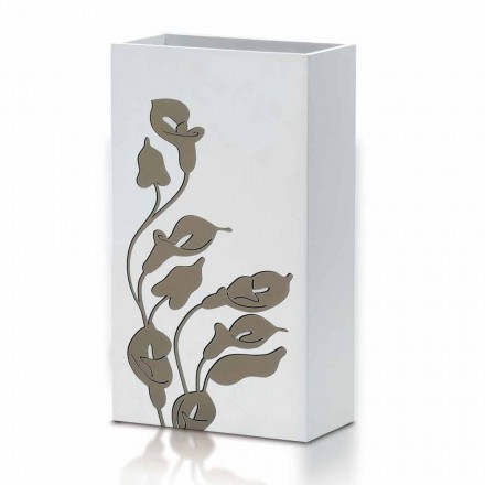 White Wood Umbrella Stand Modernes Design mit Blumendekorationen - Caracalla