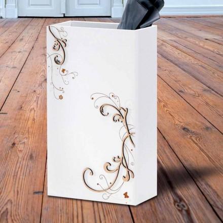 Moderner eleganter Regenschirmständer in dunklem oder weißem Holz mit Dekorationen - Poesie