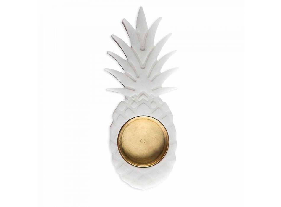Ananas-Aschenbecher aus weißem Carrara-Marmor Made in Italy - Cenna