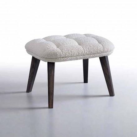 Design-Hocker mit Stoffbezug und Holzsockel Made in Italy - Clera
