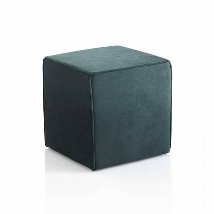 Moderner quadratischer Hocker gepolstert und mit grünem Samt überzogen - Fuffi