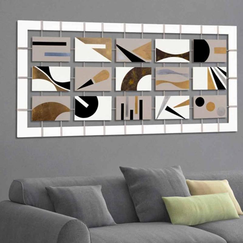 abstrakte Malerei mit fünfzehn Tafeln an Seilen aufgehängt Craig