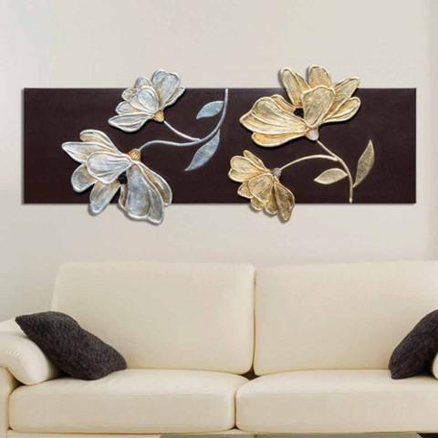Rahmen mit Blumen von Hand dekoriert mit Blattgold und Silber Herman