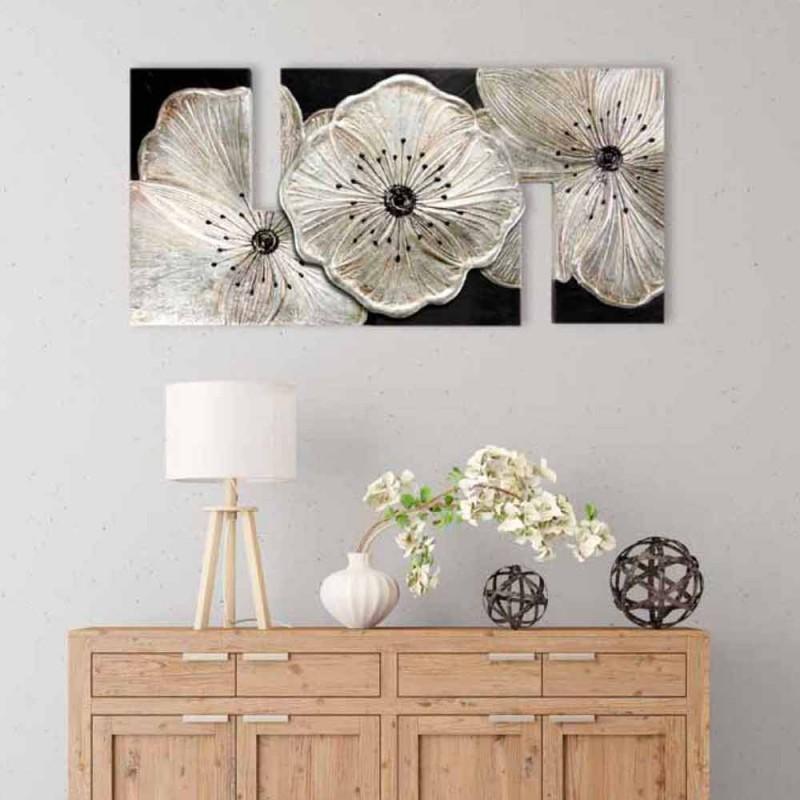 Blumen-Gemälde in modernem Design Petunia Argento klein Viadurini Decor