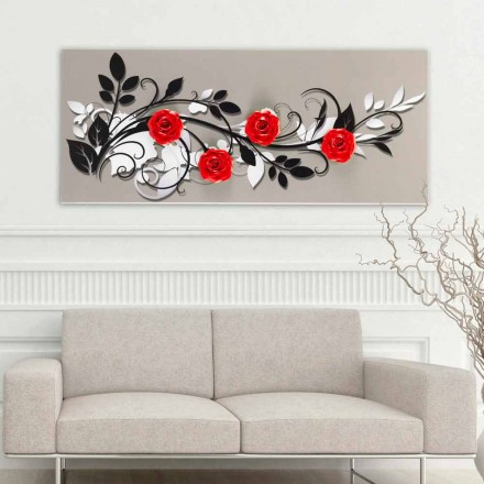 Blumengemälde in modernem Design Le Quattro Rose Viadurini Decor