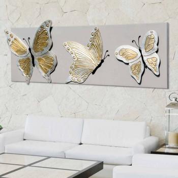 Moderne Malerei mit drei Schmetterlingen im Relief von Hand verziert Stephen