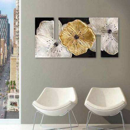 Blumen-Gemälde in modernem Design Petunia Oro klein Viadurini Decor