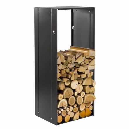 Rechteckiger Brennholzhalter für Innenkamin aus schwarzem Stahl - Solano