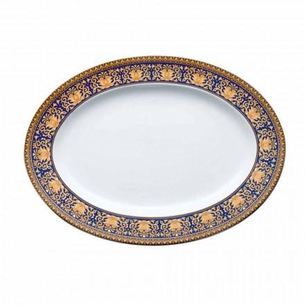 Rosenthal Versace Medusa Blau Ovale Designplatte aus Porzellan