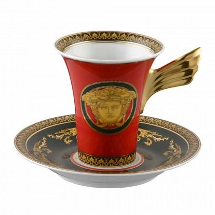 Rosenthal Versace Medusa Rosso Kaffeetasse mit hohem Porzellandesign