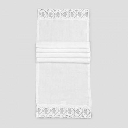 Leinen Tischläufer mit weißer Spitze, italienische Luxusqualität - Farnese
