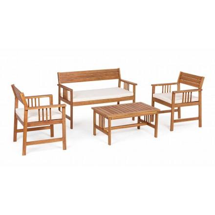 Lounge 4 Ergänzungen im Gartenholzdesign in Acacia Wood-Roxen