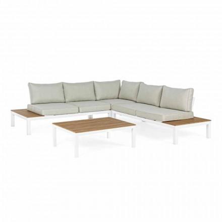 Outdoor Lounge mit Ecksofa und Couchtisch aus Aluminium und Stoff - Verve
