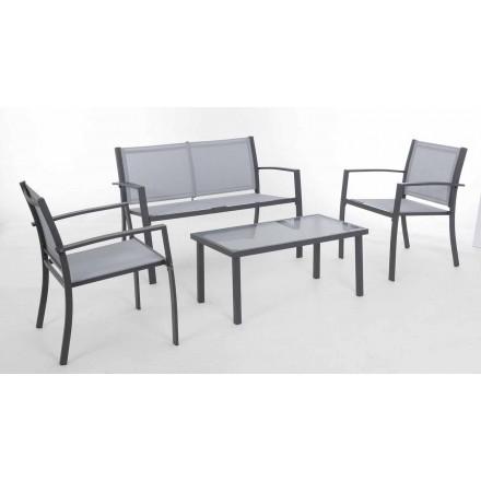 Gartenlounge aus weißem oder grauem Stahl und Design Textilene - Skeleton