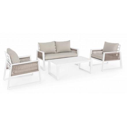 Garten Lounge in Weiß oder Schwarz Design Aluminium - Regendusche