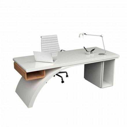 Schreibtisch Büro aus Holz und Solid Surface® Bridge Made in Italy
