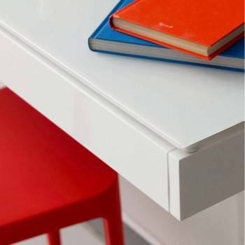 Abgehängter Schreibtisch aus Kristall mit Metallstruktur Made in Italy - Silicon