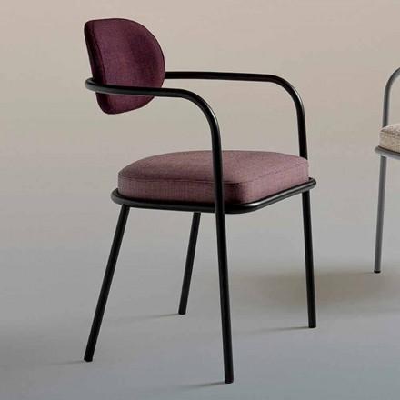 Vintage Design Stuhl mit Armlehnen aus Stahl und farbigem Stoff - Ula