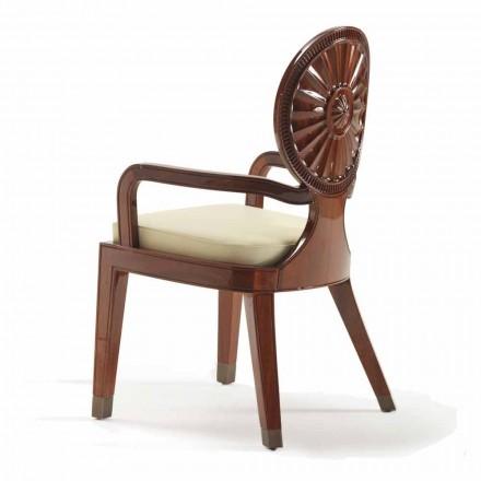 Gepolsterter Stuhl mit Armlehnen aus glattem Holz Nicole,luxury Design